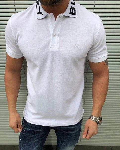"""Мужская белая футболка поло """" Burberry"""" ПРЕМИУМ КАЧЕСТВО"""