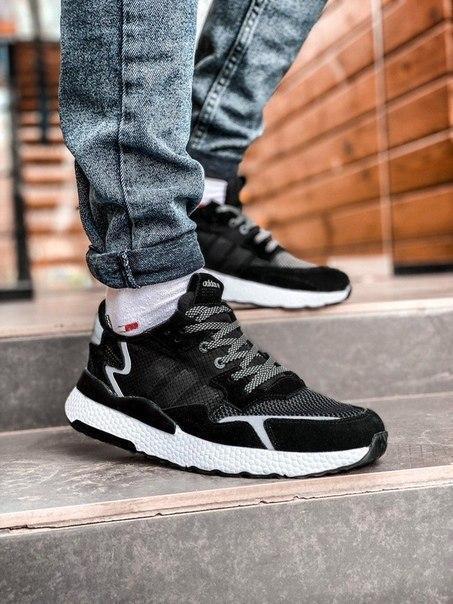 Мужские черные кроссовки Adidas, рефлективные вставки