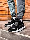 Мужские черные кроссовки Adidas, рефлективные вставки, фото 2