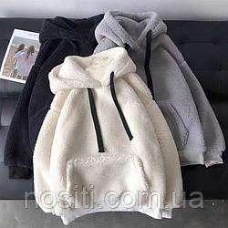 Теплый худи с капюшоном и карманами