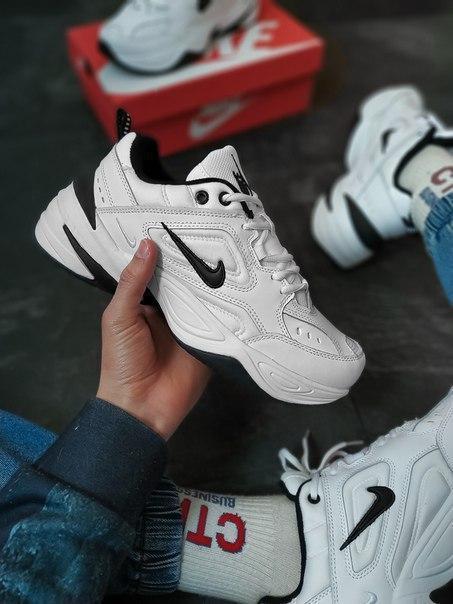 Белые модные кожаные мужские кроссовки Nike