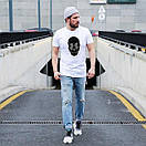 Стильная белая мужская футболка с черепом, Турция, фото 2