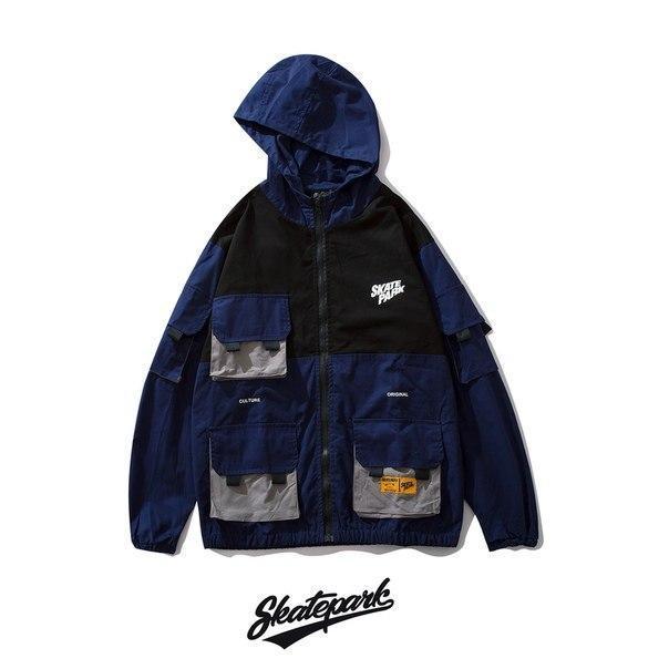 Мужская черно-синяя ветровка Skatepark с накладными карманами