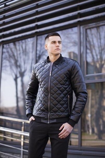"""Стеганный мужской бомбер Pobedov Jacket """"Tigr"""" из эко-кожи, два цвета"""