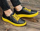 Женские черные кожаные кроссовки, фото 4