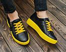 Женские черные кожаные кроссовки, фото 5
