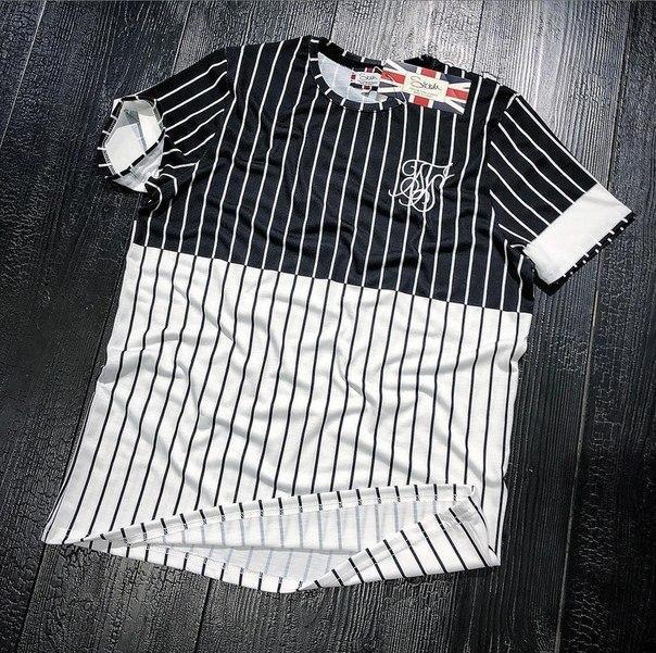 "Черно-белая стильная мужская футболка ""Sik Silk"", Турция"