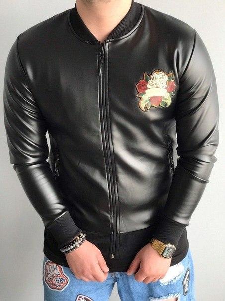 Мужской кожаный бомбер с принтом, Турция