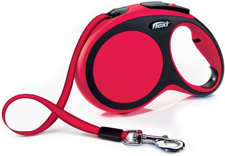 Рулетка-повідець FLEXI New Comfort L 8 м стрічка до 50 кг (червона)