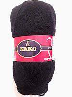 Пряжа для вязания ангора Nako Tiftik, 80% акрил 20% мохер 100 гр., 300 м,  Колір, 217, чорний