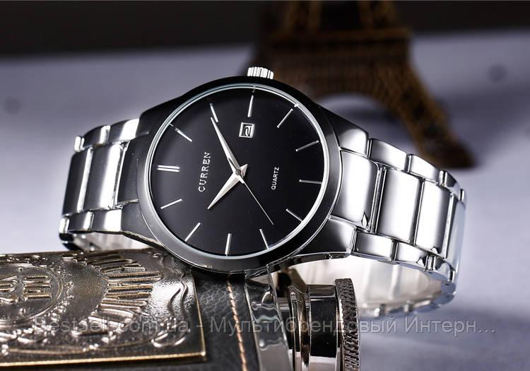 Оригинальные мужские часы стальной ремешок  Curren 8106 Silver-Black / Часы курен оригинал