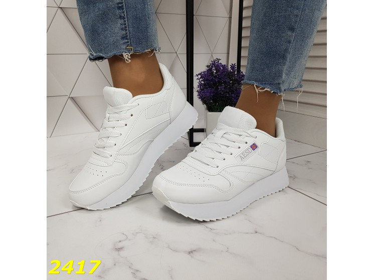 Кроссовки белые на высокой подошве колассика 36, 38, 39, 41 р. (2417)