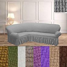 Турецкий чехол на угловой диван накидка еврочехол натяжной с оборкой Серый жатка Все цвета