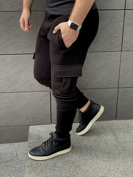 Чорні чоловічі штани Карго з манжетом на флісі