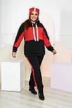 Теплий спортивний костюм з шапкою Трехнитка на флісі Розмір 50 52 54 56 58 60 62 64 В наявності 3 кольори, фото 3