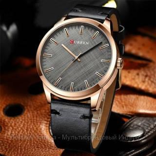 Оригинальные мужские часы кожанный ремешок Curren 8386 Black-Gold-Gray / Часы курен оригинал