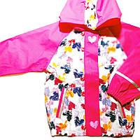 Детский Дождевик полеуретан без утеплителя, Куртка, малиновая сердца Грязепруф, Lupilu 98-104