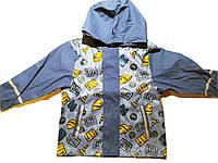 Детский Дождевик полеуретан без утеплителя, Куртка, синяя с оранжевым one way Грязепруф, Lupilu 122-128