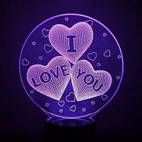 """Настольный Светильник 3D Desk Lamp Сердца в шаре """"I love you"""" """"Я тебя люблю"""" 3д ночник на батарейках и от usb"""