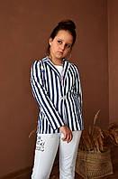 Котоновый пиджак для девочекв полоску  134/140  рост