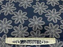 Ткань креп-костюмка темно-синего цвета принт персиковые цветы
