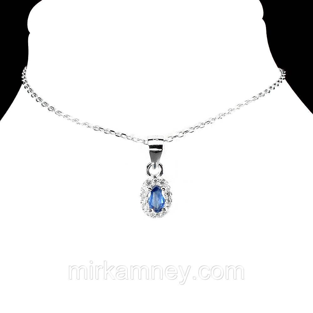 Кулон синий Сапфир (Африка). Серебро 925, покрытие золотом 14 карат