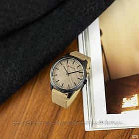 Оригинальные мужские часы кожанный ремешок Curren 8386 Light Brown-Grey / Часы курен оригинал