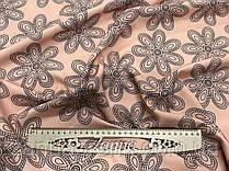 Ткань креп-костюмка персикового цвета принт темно-синего цветы
