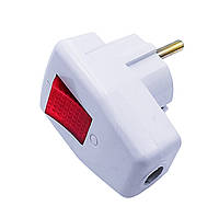 Вилка бокова з/з + вимикач 16а  АВаТар GAV 838
