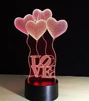 Настольный Светильник 3D Desk Lamp Сердечки шарики Love 3д ночник на батарейках и от usb оригинальный