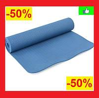 Коврик для фитнеса и йоги Йога коврик Коврик для спорта Йогомат TPE + TC 183 x 61 x 0,6 см Темно-синий
