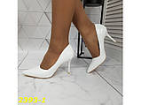 Туфли лодочки на невысоком каблуке белые 36, 38, 39, 40 р. (2393-1), фото 8
