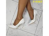 Туфли лодочки на невысоком каблуке белые 36, 38, 39, 40 р. (2393-1), фото 6