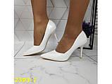 Туфли лодочки на невысоком каблуке белые 36, 38, 39, 40 р. (2393-1), фото 4