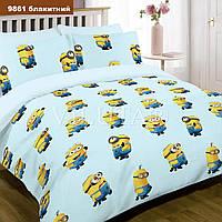 Подростковый комплект постельного белья Viluta ткань Ранфорс Миньоны Посіпаки голубое
