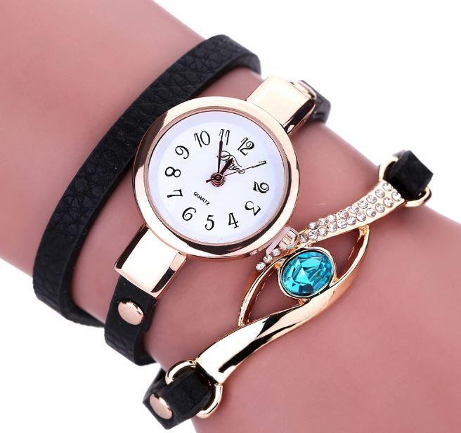Наручные женские часы с черным ремешком код 208