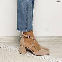 37 р. Туфли женские бежевые замшевые на высоком каблуке из искусственной замши бежевого цвета с ремешком, фото 1