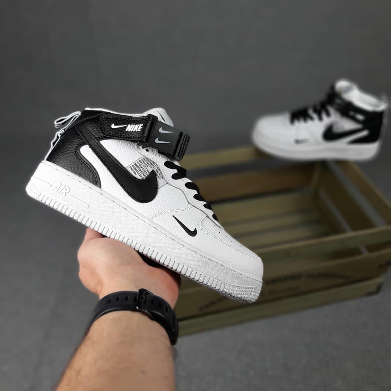 Женские кроссовки N1ke Force 1 x OFF White Белые с чёрным высокие ,без меха 36-41