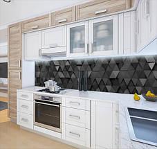 Виниловая наклейка на кухонный фартук текстура объемная серая, с защитной ламинацией, 60 х 200 см., фото 2