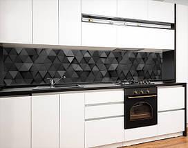 Виниловая наклейка на кухонный фартук текстура объемная серая, с защитной ламинацией, 60 х 200 см., фото 3
