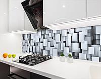 Кухонный фартук на виниловой пленке с объемной 3д текстурой кубов, с защитной ламинацией, 60 х 200 см.