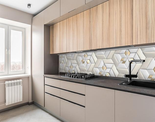 Кухонный фартук самоклеющися 3д кирпичи стильной кладки, с защитной ламинацией, 60 х 200 см.