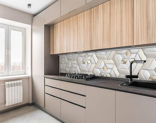 Кухонный фартук самоклеющися 3д кирпичи стильной кладки, с защитной ламинацией, 60 х 200 см., фото 2