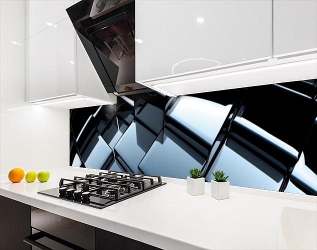 Вінілова скіналі на кухонний фартух 3д куби дзеркальні, із захисною ламінацією, 60 х 200 см.