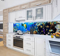 Кухонный фартук на виниловой пленке на глубине моря, с защитной ламинацией, 60 х 200 см.