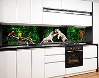 Кухонный фартук на виниловой пленке с тиграми в джуглях, с защитной ламинацией, 60 х 200 см.