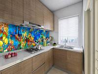 Кухонный фартук на виниловой пленке с рыбами на дне моря, с защитной ламинацией, 60 х 200 см.