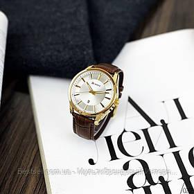 Оригинальные мужские часы кожанный ремешок  Curren 8365 Brown-Gold-White / Часы курен оригинал