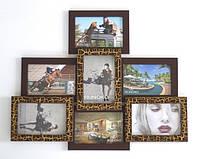 Деревянная мультирамка Пирамида Бронзовый, Красное дерево, Двойное золото, Золотой с рельефом, Ампир