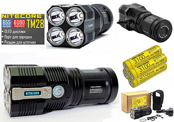 Мощный поисковый фонарь NITECORE TM28 + IMR18650 3100mAh*4шт  (6000LM, OLED, Cree XHP HI, 4 LED) Tiny Monster